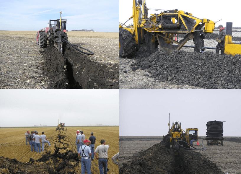 Equipamiento para instalación de drenes tubos enterrados